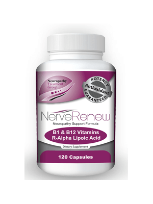 A single bottle of NerveRenew with 60 capsules in pill form.
