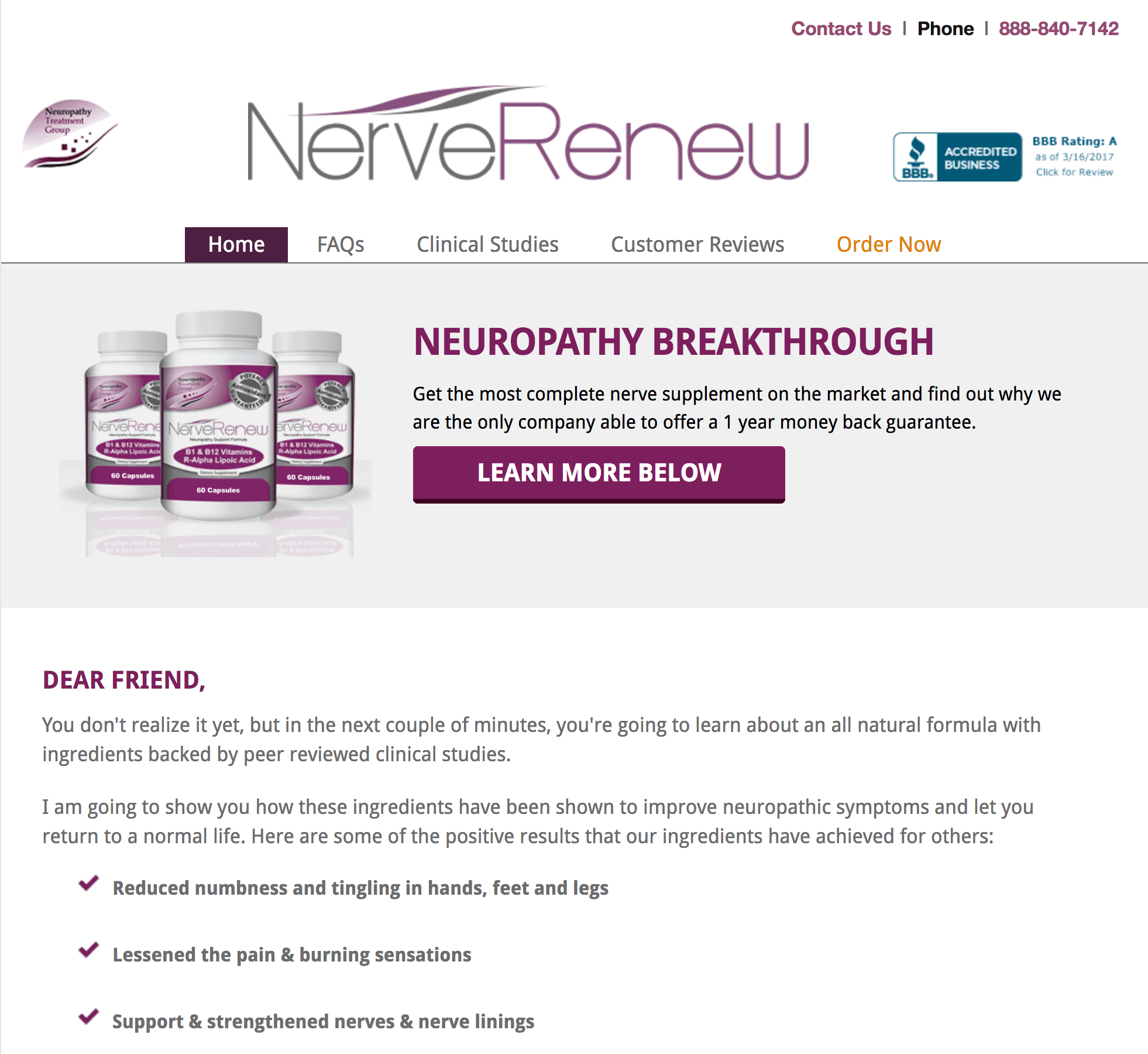 A picture of the homepage of the Neuropathy Treatment Group
