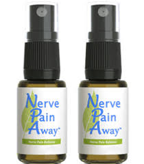 Two bottles of the neuropathy supplement Nerve Pain Away