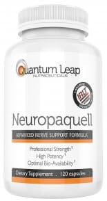 A bottle of Neuropaquell, a supplement for neuropathy pain relief and nerve damage