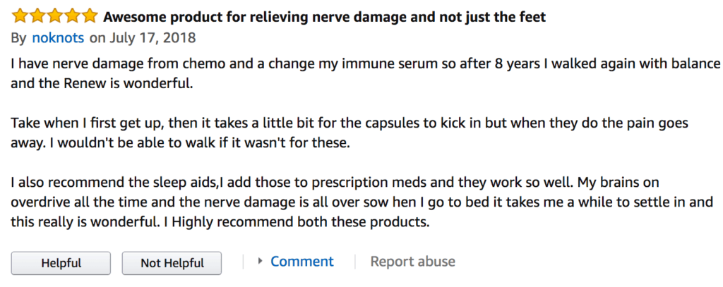 This review claims it help relieve nerve damage from chemo