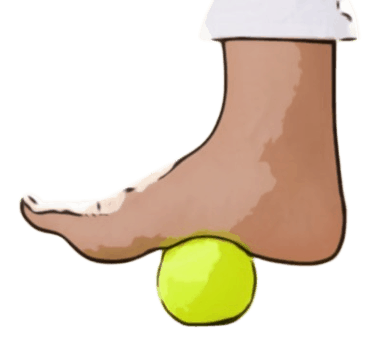 Rolling foot massage with a tennis ball